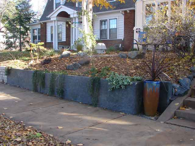 The completed retaining wall