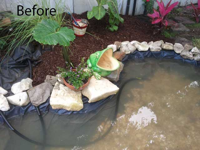 Concealing exposed pond liner